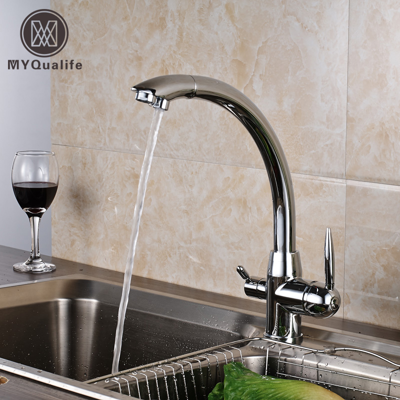 цена на Deck Mounted Chrome Vegetables Basin Water Purifier Kitchen Faucet Full Copper Spout Hot and Cold Faucet Sink Mixers Pure Versat