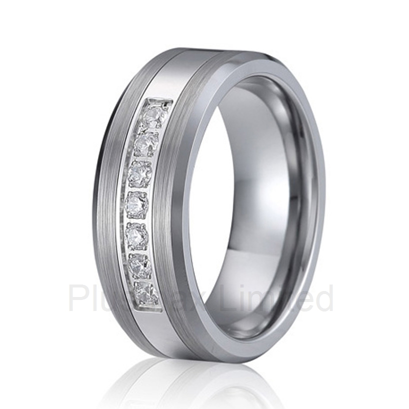Custom mens and womens jewelry latest new design big 8mm wide titanium cz wedding band fashion finger rings new arrival buy your beautiful wedding band factory direct mens and womens anti allergic titanium jewelry fashion finger ring