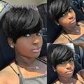 8 pulgadas de color negro jet pelo corto mujeres afroamericanas cabello humano pelucas delanteras del cordón corto pelucas de cabello humano con flequillo dhl libre