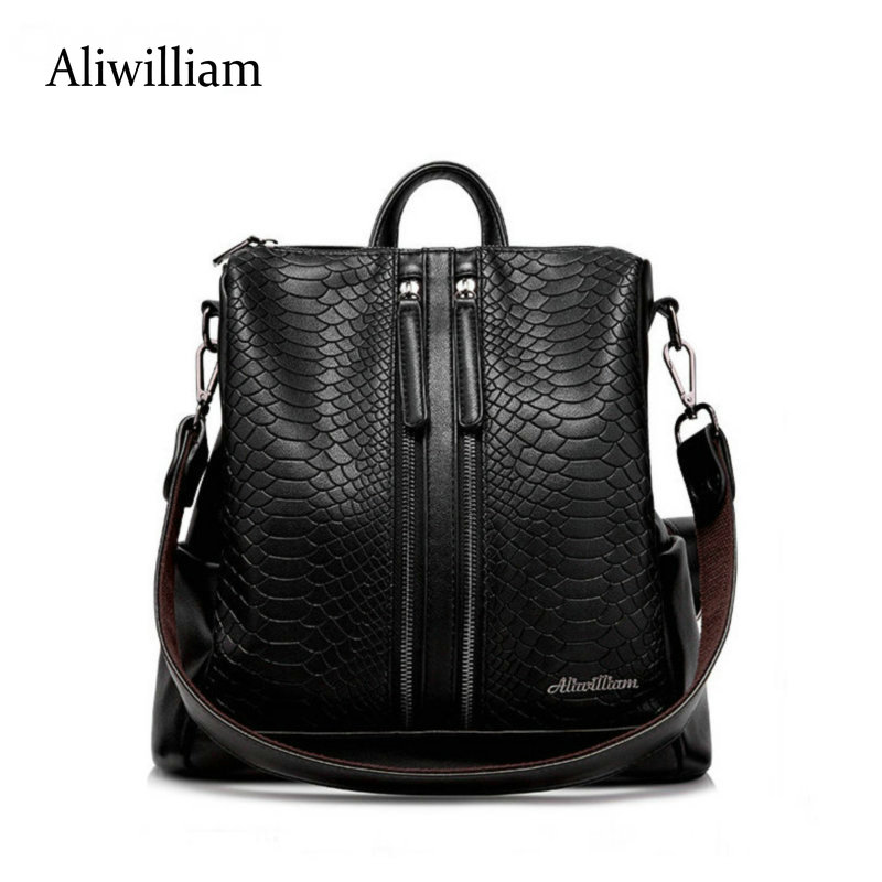 Aliwilliam New Women Leather Backpack Black Bolsas Mochila Feminina Large Girl Schoolbag Travel Bag Solid Candy Color Backpack