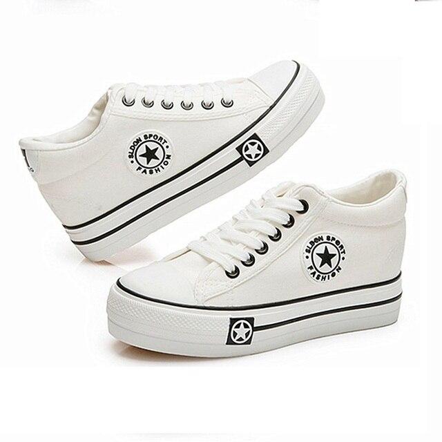 Женщины Клинья Парусиновые Туфли Женщина Белые Ботинки Звезды Лето Платформа Тренеры Корзина Femme Zapatos Mujer