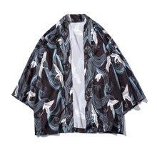 Japon Style Impression Grue Trois Quarts Manches Col Mince Cardigan Kimono  Hommes 2018 D été Casual Chemise Noire Grande Taille aa6c16c6025b