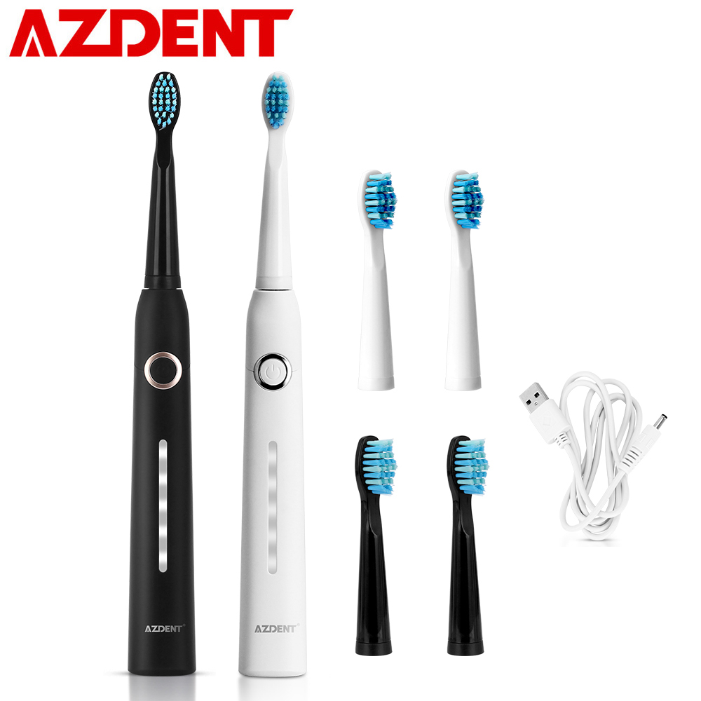 AZDENT AZ-9 Pro Sonic Electric Toothbrush Rechargeable USB Charger + 3Pcs Replaceable Heads Ultrasonic Waterproof Timer 5 Modes