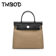 New 2017 Fashion Design Patchwork Tote Messenger Bag Women Canvas & Genuine Leather Handbags For Female Crossbody Bags an509