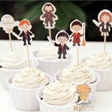 24pcs Harry Potter candy bar cupcake topper pick fruit picks baby shower kids birthday party