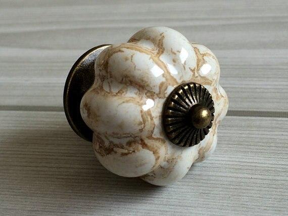 kitchen cabinet knobs pumpkin knobs dresser knob drawer knobs pulls ceramic porcelain antique bronze tan decorative hardware - Decorative Cabinet Knobs