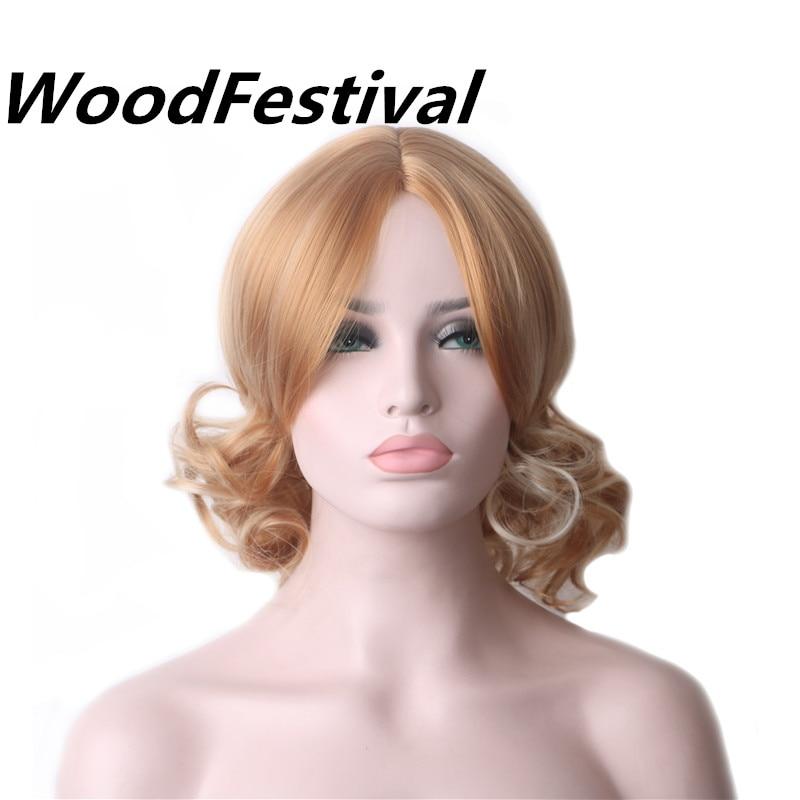WoodFestival Ξανθιά περούκα Σύντομες περούκες για γυναίκες Ανθεκτικές στη θερμότητα συνθετικές περούκες μαλλιών Μικτή ξανθή περούκα Σγουρές