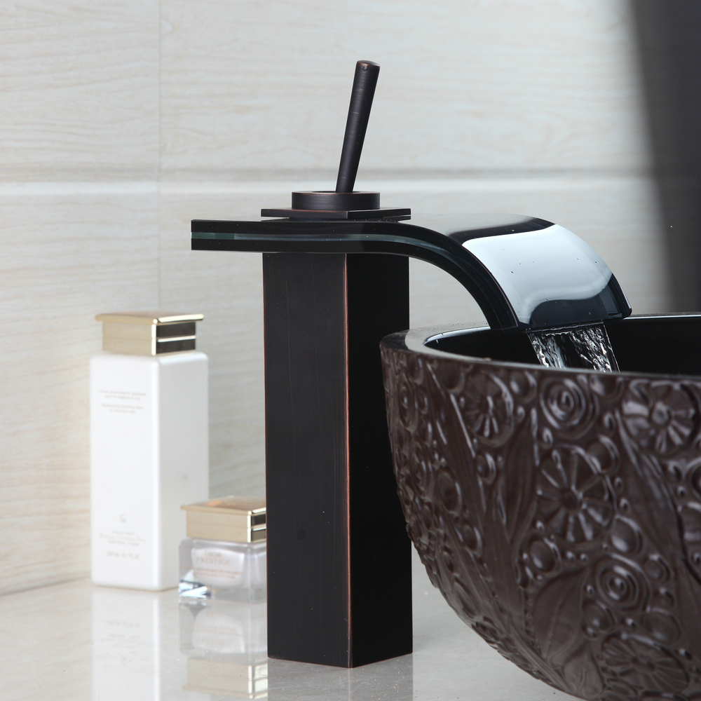 OUBONI Modern Luxury Bathroom Basin Mixer Tap 92477 Waterfall Faucet Sink Vessel Oil Rubbed