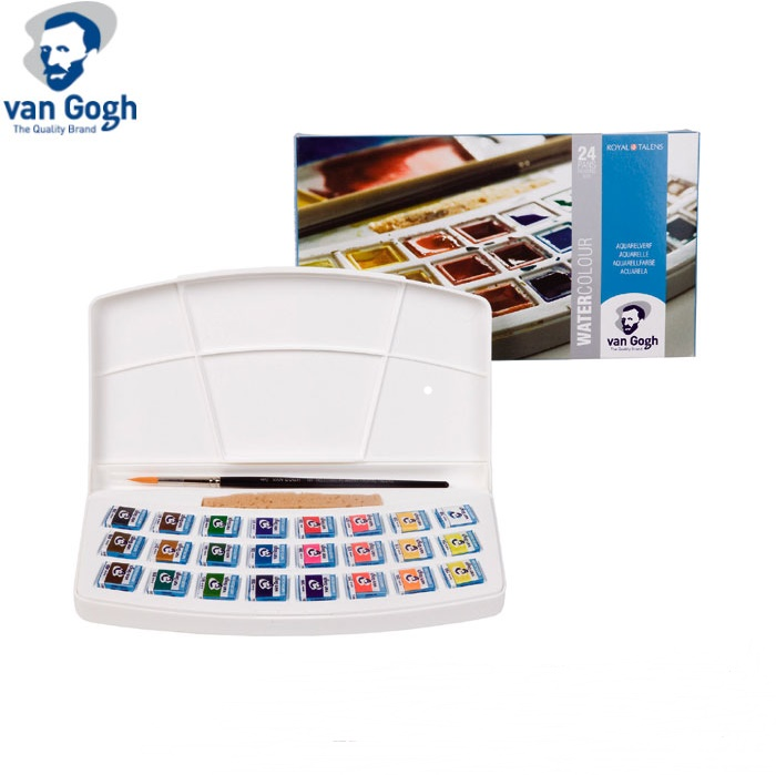 Free shipping Van Gogh 24 colors plastic box solid watercolor pigment contains nature sponge and paintbrushf or artist