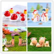 1PCS Cartoon Resin Christmas Hat Snowman Fence Door Cow Bonsai Ornaments Miniature Figurine Home Decoration(China)