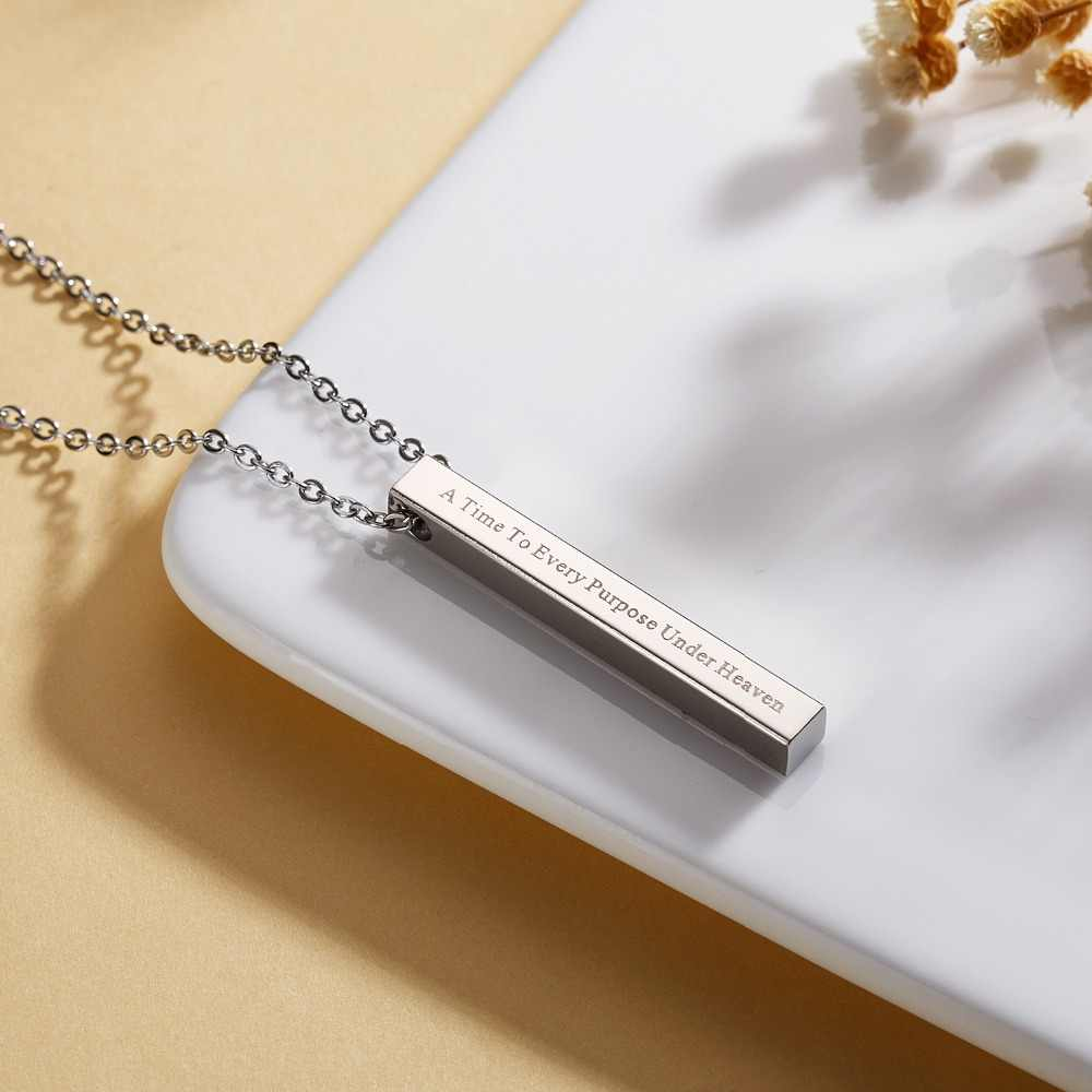 Engraving Personalized Vertical Bar Necklace Stainless Steel Custom Pendant Necklace Women Men Jewelry Anniversary Birthday Gift