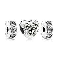 Authentic 925 Sterling Silver Shine Mother Heart Charm Pack Charm Bracelet Fit Pandora Bracelet DIY Jewelry Bangle for women