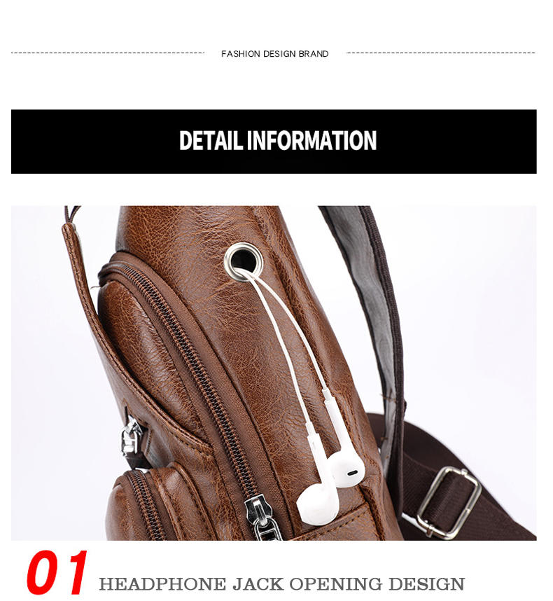 Men's Crossbody Bags Men's USB Chest Bag Designer Messenger bag Leather Shoulder Bags Diagonal Package 2019 new Back Pack Travel 7