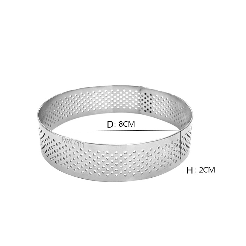 8cm Stainless Steel tart ring silver cake mold Home Bake tools rings hole Circle not retract