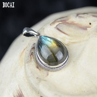 S925 solid sterling silver inlaid twisted wire natural labrador Thai silver pendant female models drop shaped pendant