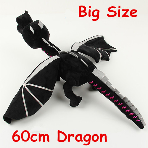 Super Cool 60cm Minecraft Ender Dragon Anime Plush Toys Soft Black Minecraft Dragon Toys Minecraft Plush