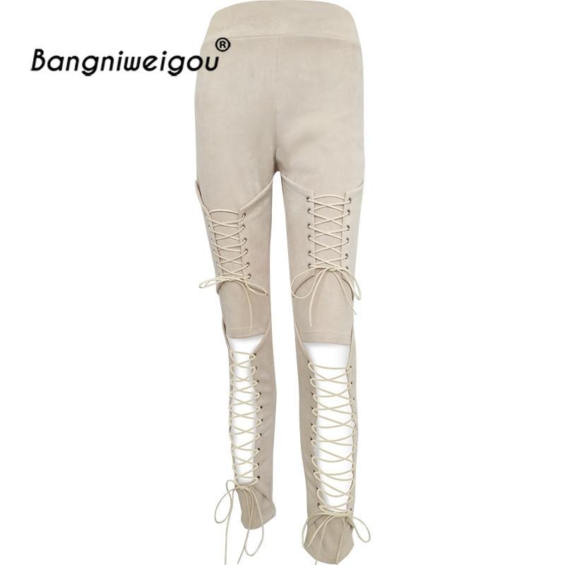 Sexy Lace up Suede Pants High Waist Hollow Cutout Crisscross Leggings Pencil Goth Pants Punk Retro Apricot Trousers Streetwear