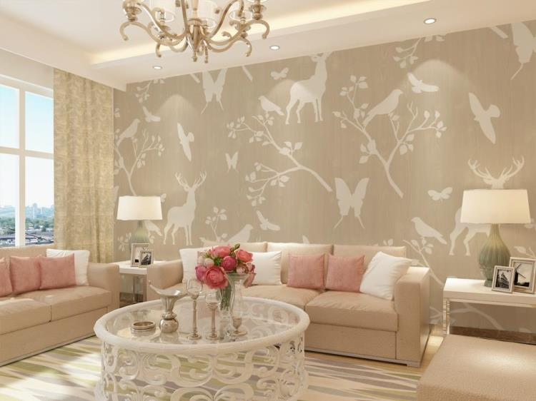 Online get cheap deer wall murals for Cheap living room wallpaper