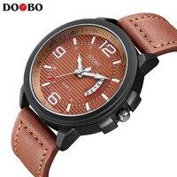 NEW DOOBO Casual Mens Watches Top Brand Luxury Leather Men Military Wrist Watch Men Sports Quartz