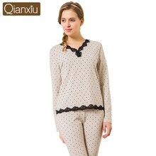 2 Pcs Women Pajama Set Long Sleeve Pajamas Cotton Autumn Sleep & Lounge Lace V-neck Sleepwear Soft Women Pijama Nightwear