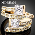 18kgp gold filled with Round clear  Austrian Crystal for women Exquisite Luxury party Queen Rings jewelry Christmas gift 18K017
