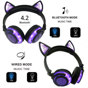 Image 2 - Jinserta bluetoothイヤホン猫耳ワイヤレスヘッドフォンマイク点滅グローイングw/ledライトpcのラップ大人の子供