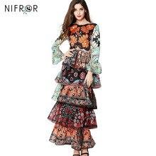 Runway Dresses 2017 luxus női hosszú ruhadás ruha minőségi chiffon flare ujjlenyomat virág virág Boho Maxi ruha női