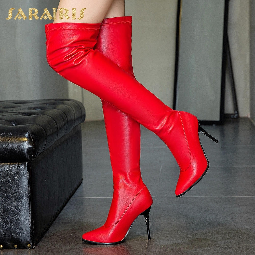Talons Bottes Gros Noir blanc Chaussures 50 Femme 31 Sarairis Chaude Le Hauts Vente En Hiver rouge Sur Genou Taille 2018 Grande UqwEPq8