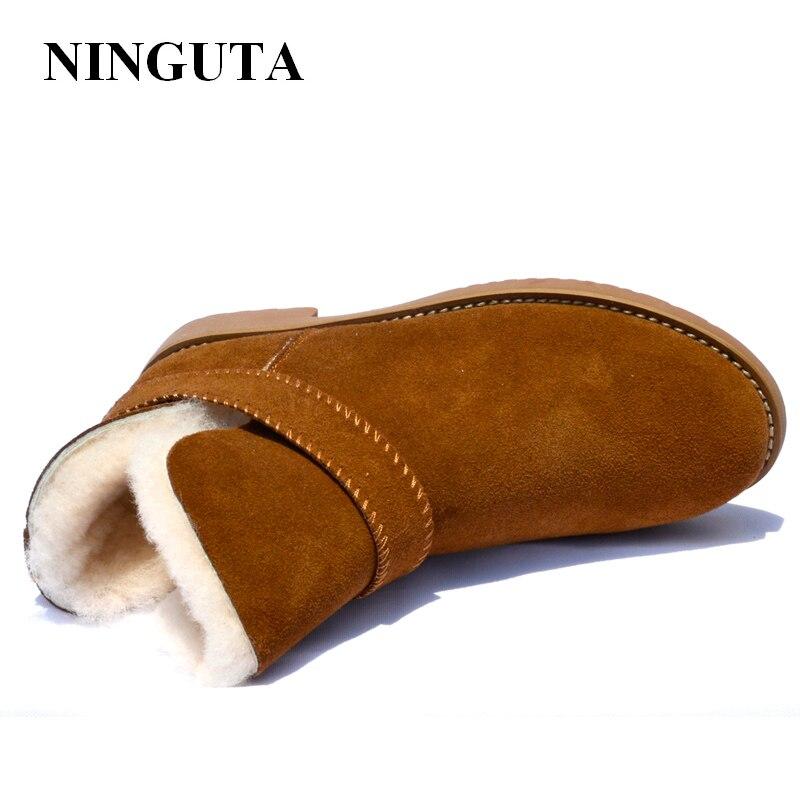 Ningutaスエード冬のアンクルブーツ女性の羊の毛皮インサイド雪の女性のブーツeu35 41  グループ上の 靴 からの アンクルブーツ の中 3