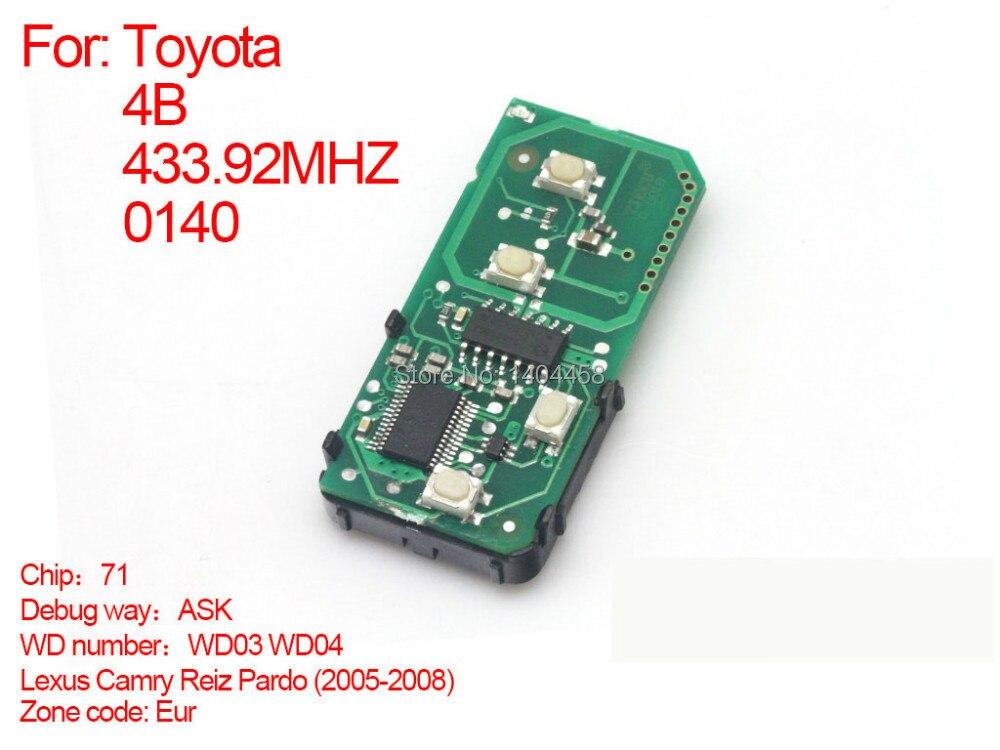 Auto 2005-2008 carte à puce 4 boutons clé 433.92 MHZ WD03-WD04-271451-0140, pour Toyota Eu