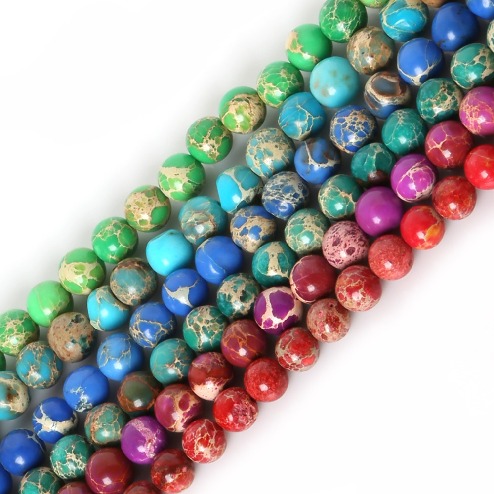 NiceBeads15 Natural Stone Mix Colors Sectable Sea Sediment Imperial Round Loose Beads