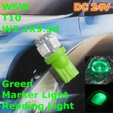 24 V Lâmpada Do bulbo Do Carro T10 LEVOU Cor Verde (5*5050) W5W W2.1X9.5d por Sinal Topo Largura de leitura Luz