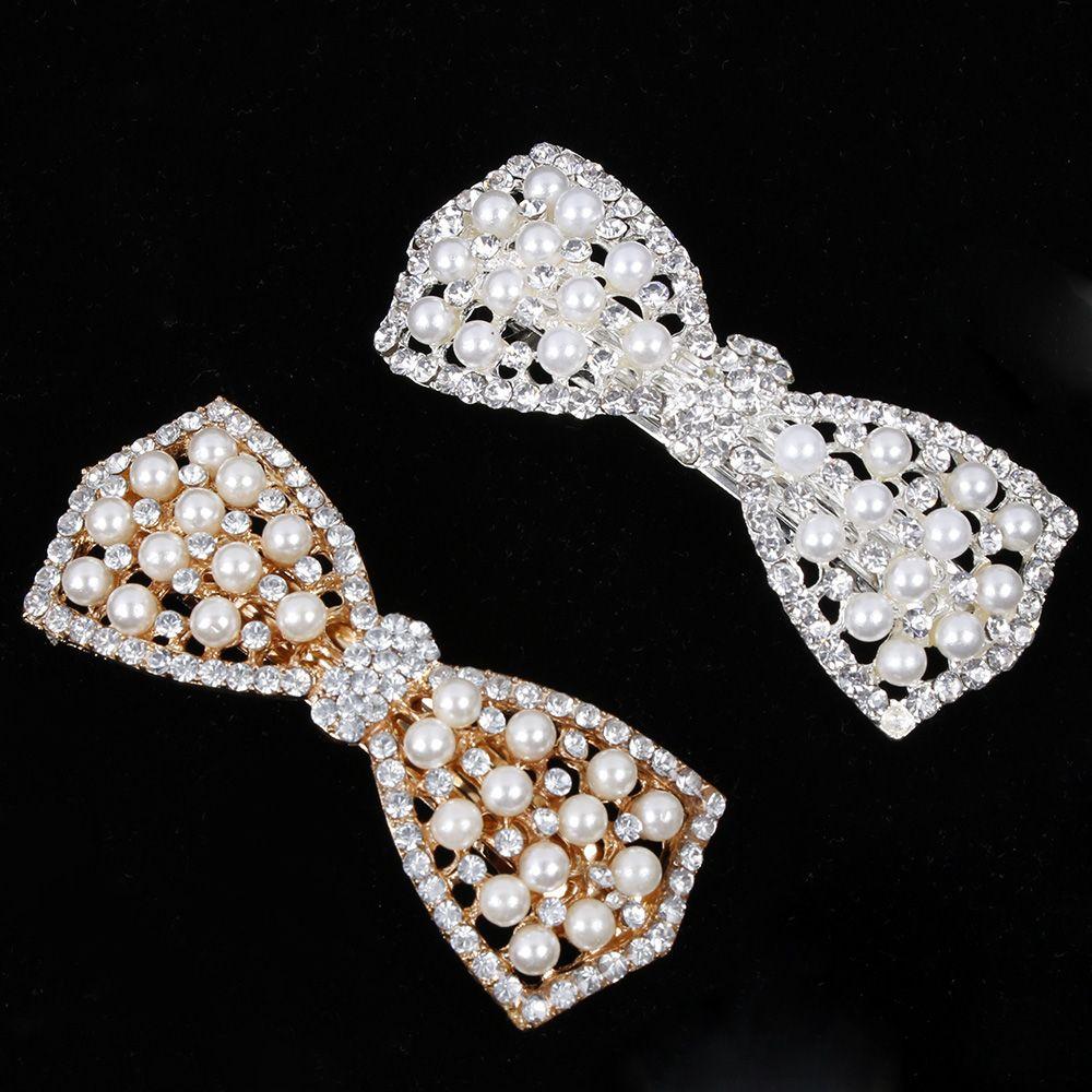 1 Pc Bestseller Frauen Mädchen Mode Elgant Kristall Bogen Haar Clip Party Vaction Haarnadel Haarspange Perle Haar Zubehör Hot Seien Sie Freundlich Im Gebrauch