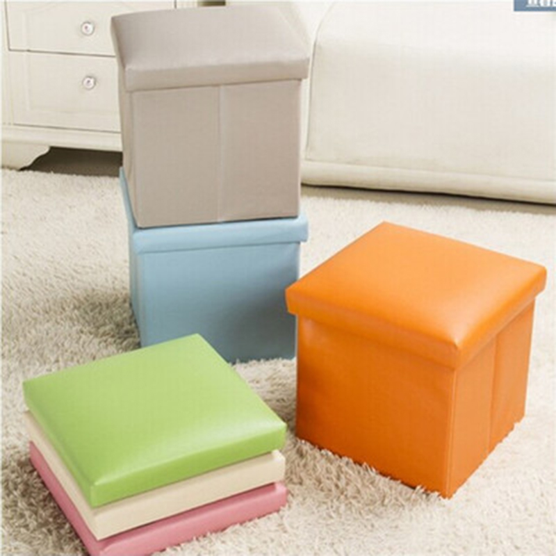 Leather Folding Storage Box For Home Toy Organizer Stool Bench Foot Rest Seat With Cover Household Case Multi-function Bins