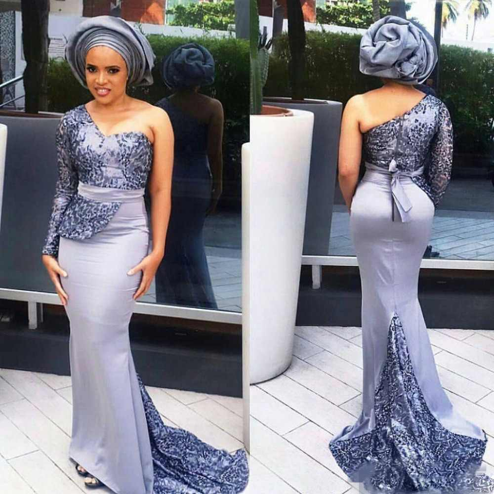 fc40588b741d5 2018 Modest Aso Ebi Long Evening Gowns Mermaid Prom Gowns Satin ...