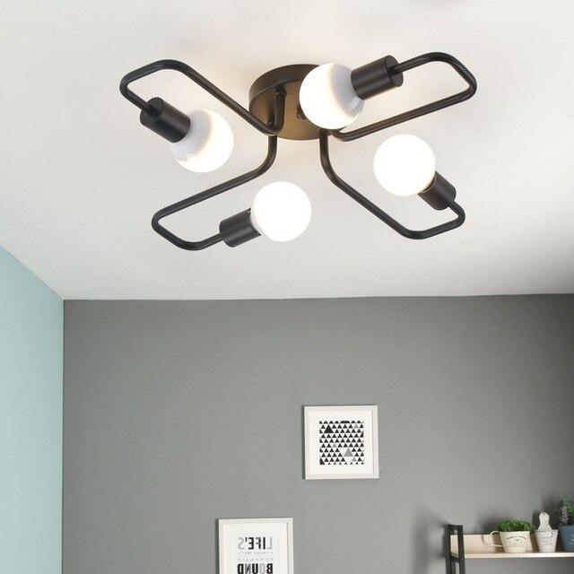 Multiple Rod metal chandelier Vintage Iron Ceiling Lamp Edison E27 Bulb Lamparas for Home Lighting Fixture Nordic Kitchen island
