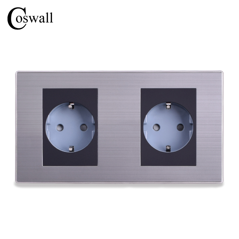 Coswall 16A EU Standard Double Outlet Luxury Wall Power Socket Enchufe Brushed Silver Panel Electrical Plug Soquete AC 110~250V
