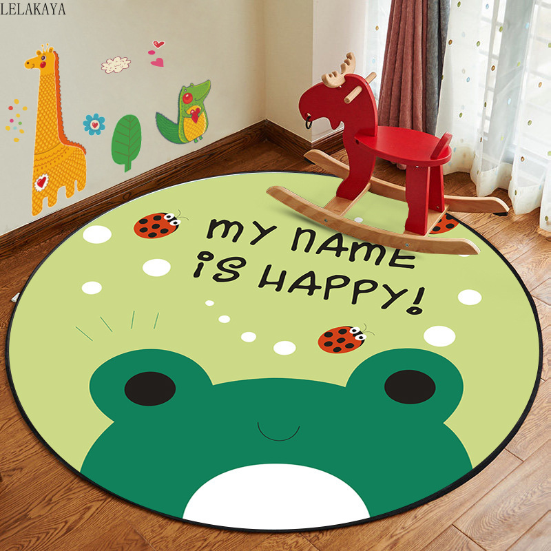 4size Cartoon Polyester Creative Round Kids Play Mats Living Room Sofa Hanging Computer Swivel Chair Non-slip Mat Decoration Toy