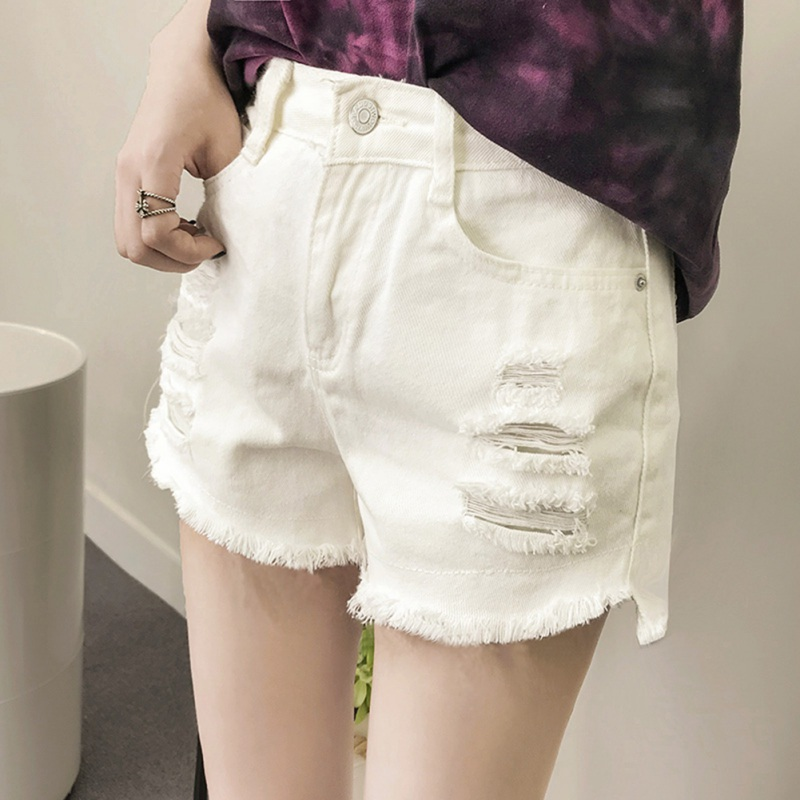 Women Summer Black White Hole Denim Shorts Female Loose Personality Raw Wide Leg Denim Shorts Price $9.47