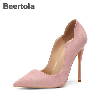 Red Wedding Shoes For Bridesmaids Suede Yellow Stiletto Wave Shoes Women High Heels Plus Size 45 Pumps Sexy Fashion Single Shoes