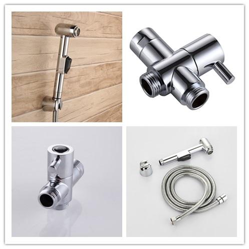 Silver Toilet Handheld Bidet Shower Spray Shattaf Kit Cleaning Sprayer Diverter