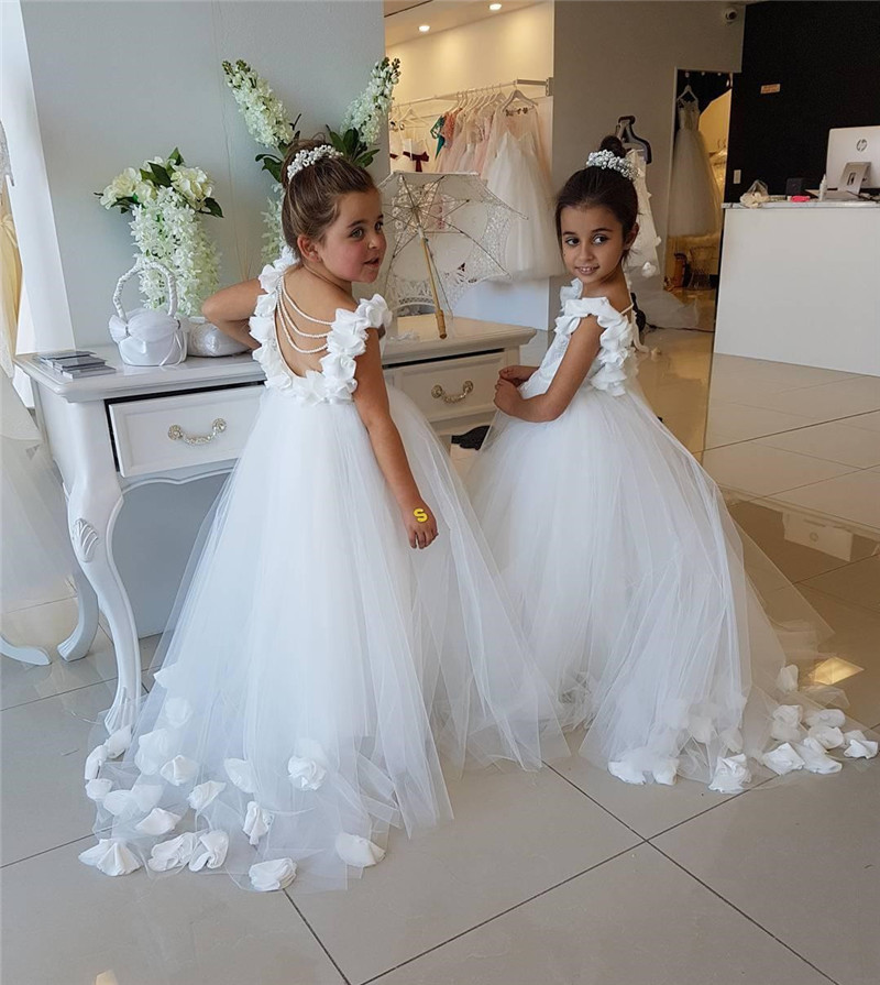 Flower     Girls     Dresses   For Weddings Ruffles Lace Tulle Pearls Backless Princess Children Kids Birthday Party   Dress   Communion Gown
