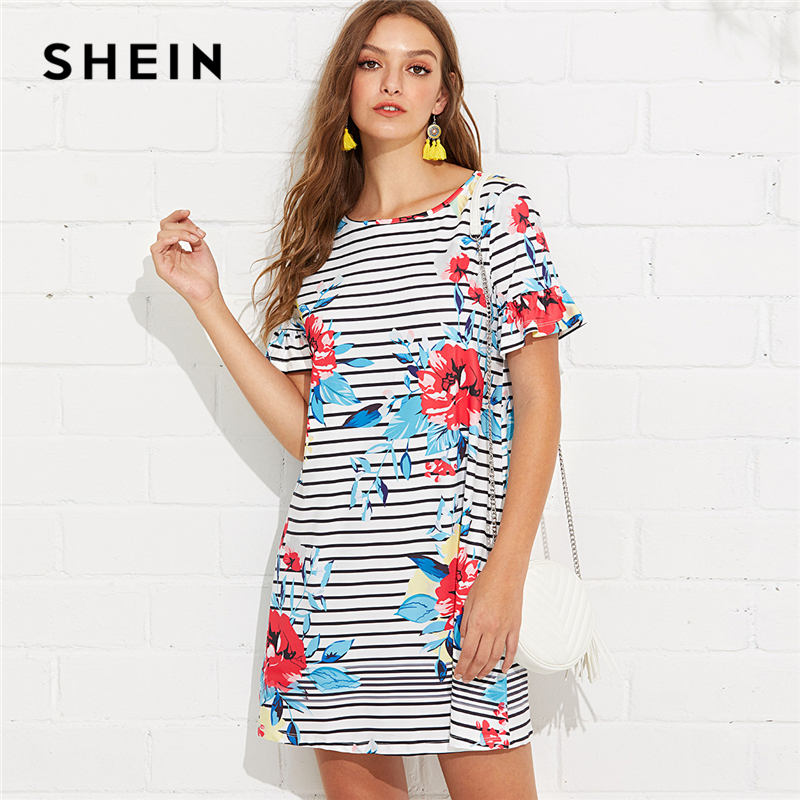SHEIN Multicolor Weekend Casual Floral and Striped Print Flounce Sleeve Ruffle Tunic Straight Dress Summer Women Going Out Dress