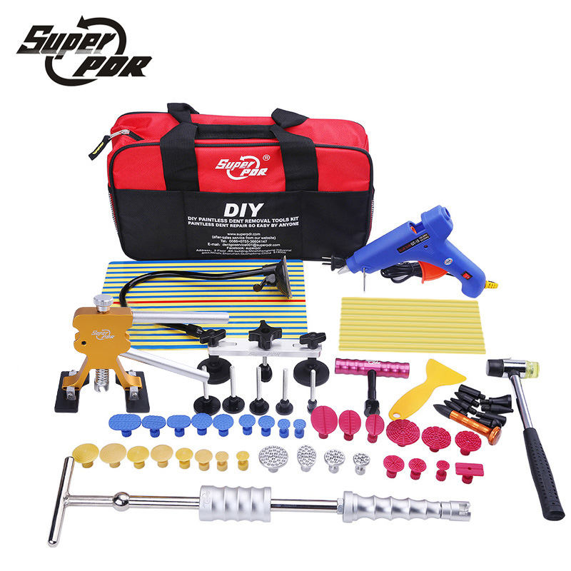 Car body repair tool to remove dents PDR tool kit glue gun slide hammer reflector board hand tools set for auto tool kit green single board auto repair tool new vci vd tcs cdp full set housing cover 2014 r3 softwares for cars trucks universal tool