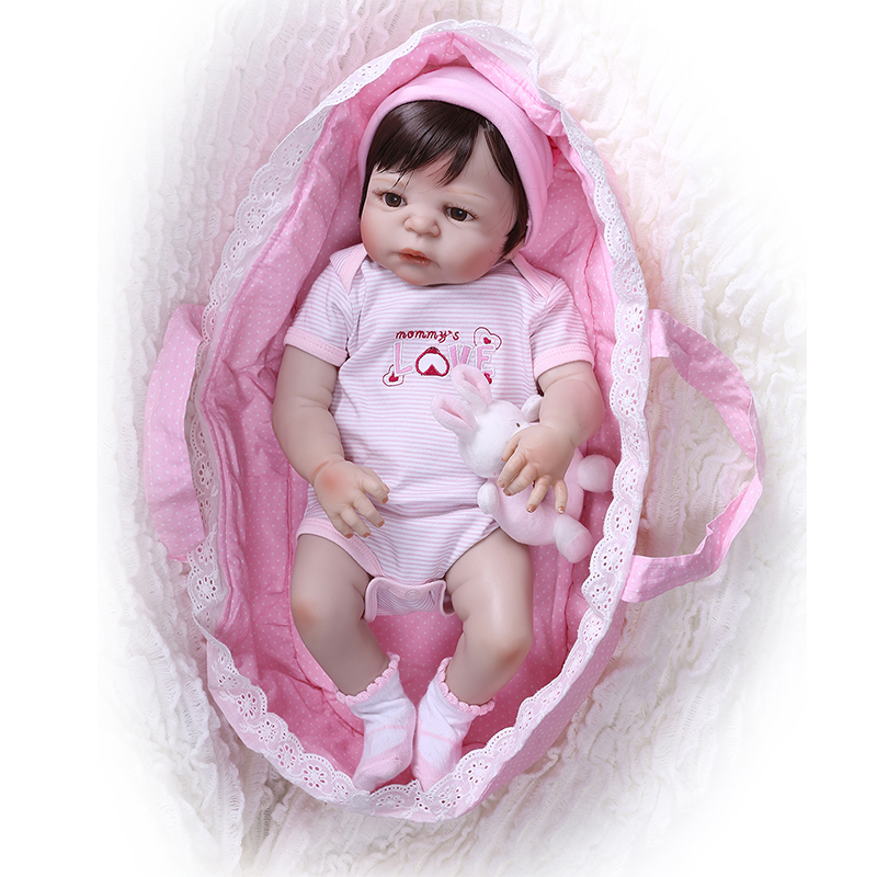 Nicery 22inch 55cm Bebe Reborn Doll Hard Silicone Boy Girl Toy Reborn Baby Doll Gift for Child Pink Sleeping Basket Bady Doll-in Dolls from Toys & Hobbies    1