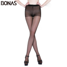 BONAS Ladies 12D Spider Stockings Tights Tear Resistant Nylon Tights Pantyhose Women Summer Hosiery Pants Elastic Pantyhose
