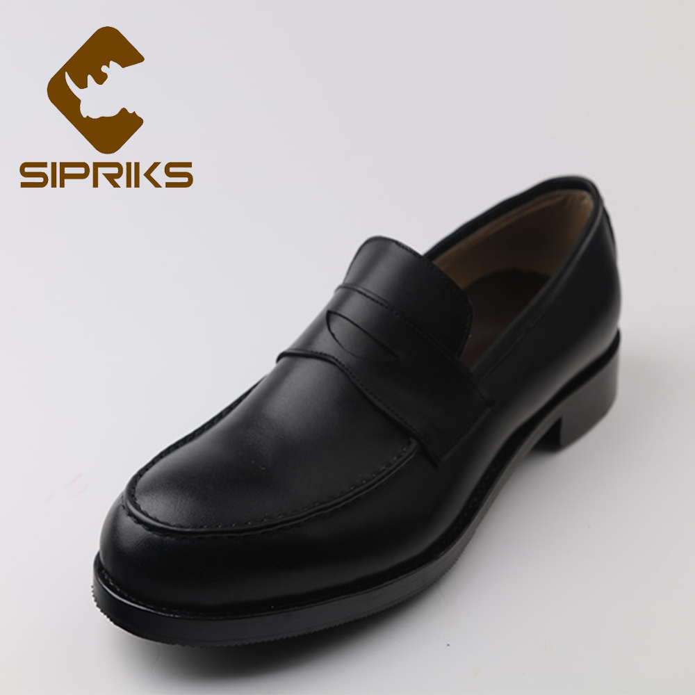 Sipriks Mens Penny Loafers Imported Italian Calf Leather Black Men Topsiders Loafers Custom Goodyear Welted Shoes