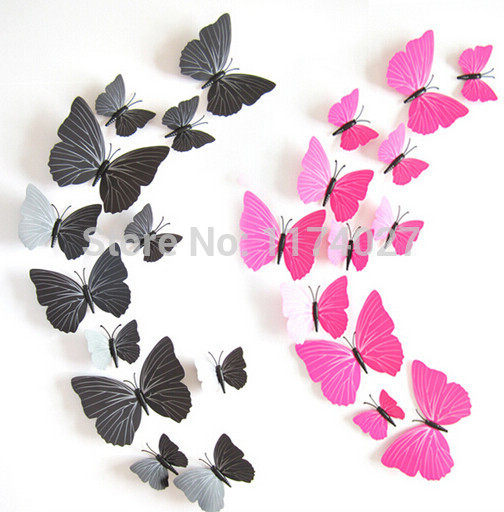 High Quality 12pcs PVC 3d Butterfly Wall Decor Cute Butterflies Wall  Stickers Art Decals Home Decoration
