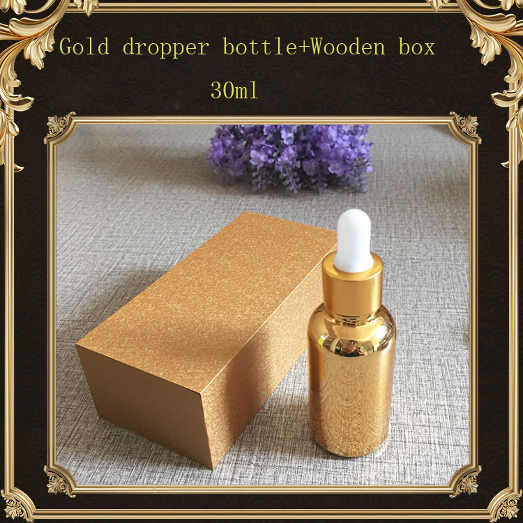 30ml High-grade gold glass bottle empty dropper bottle gold wooden box , essential oil/ perfume subpackage bottle. creativity essential oil blend true botanical 100% pure and natural undiluted high quality therapeutic grade blend of rosemary clary sage hyssop marjoram cinnamon 5 ml
