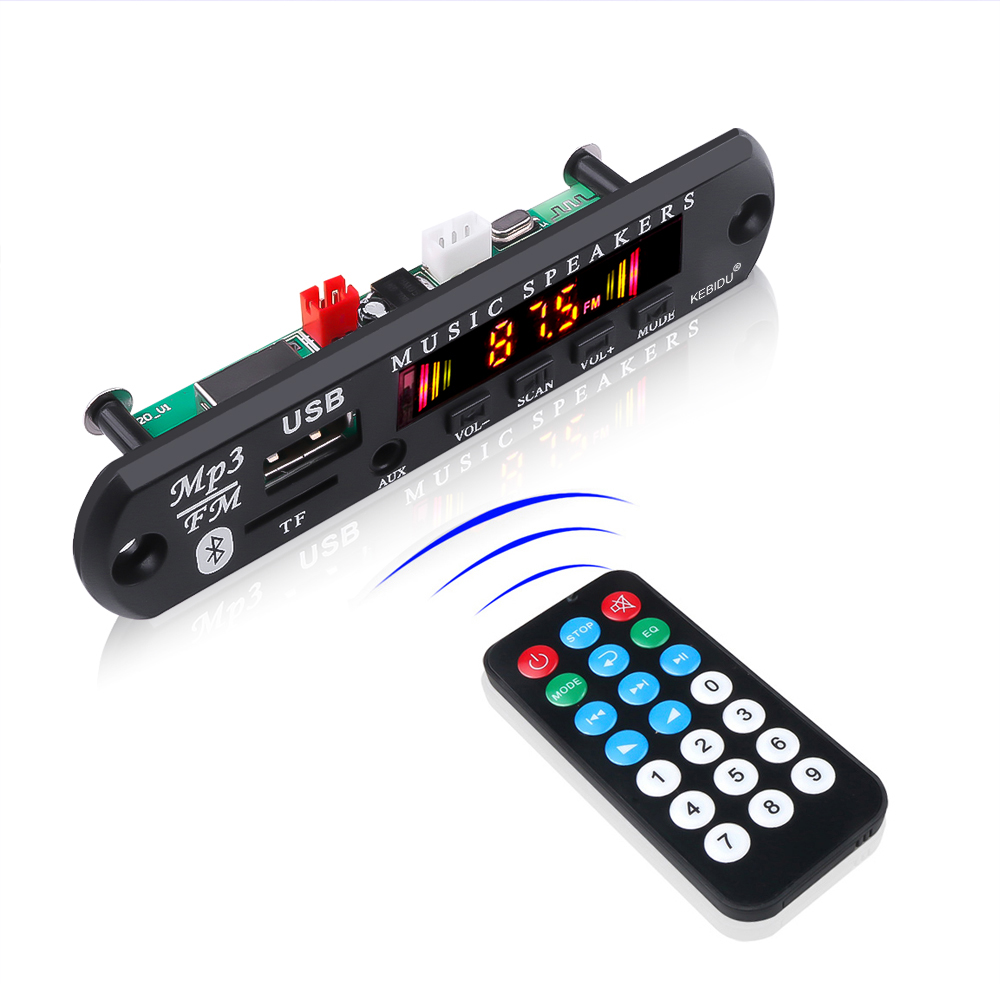 12V 5V Bluetooth 5.0 Receiver Car Kit Car MP3 Player Decoder Board Color Screen FM Radio Module TF USB 3.5 Mm AUX Audio